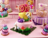 Dollhouse Miniature Food Alice in Wonderland Themed Whimsical Cake