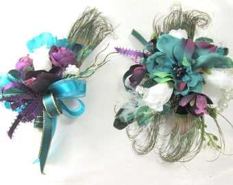 Peacock Wrist Corsage and Boutonierre Prom Set in Teal and Purple with White Pearl Bracelet