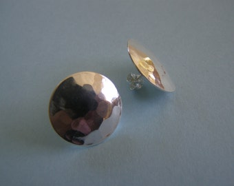 Sterling Silver Hammered Dome Earrings