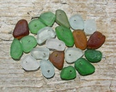 TINY PASTEL White and Green Brown Beach Glass CHARMS Sea Glass Bead Charm