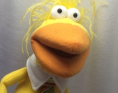Thurman - Yellow nerdy bird with a nerdy tie Hand Puppet (moving mouth)