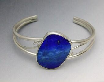 Argentium Silver cuff bracelet with Lapis Lazuli