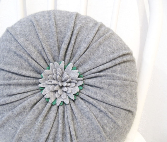 Round Red Decorative Pillows : Gray Cashmere Round Flower Throw Pillow / Accent Decorative