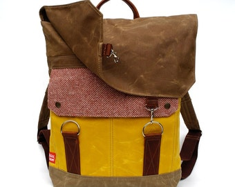 Tall Boy Waxed Canvas Backpack with Padded Straps / Cranberry Vintage Wool & Oiled Leather