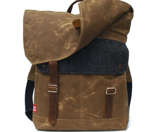 Tall Boy Waxed Canvas Backpack w/ Padded Straps / Black Herringbone Recycled Wool