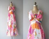 Bravura chiffon dress | vintage 1960s maxi dress | watercolor floral 60s chiffon dress