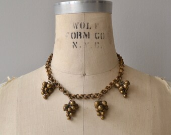 Brass Grapes necklace | vintage 1930s necklace | brass 30s deco necklace