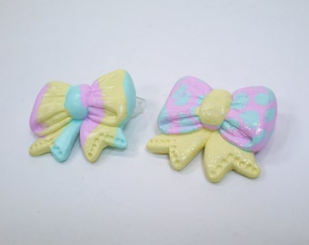 Kawaii pastel rainbow bow - Choose your Polymer clay barrette or pin