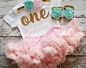 PRE ORDER Baby Girl 1st Birthday Outfit Cake Smash Gold One Bodysuit Pink Petti Skirt Mint Headband LolaBeanClothing