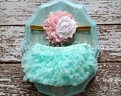 Mint Baby Bloomers Pink Gold White Headband Set Take Home Outfit Newborn Photography Prop Lola Bean Clothing