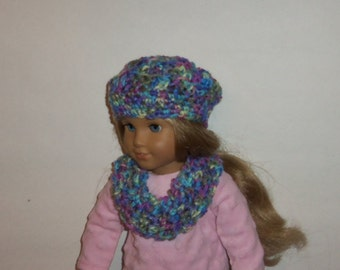 American Made, Girl Doll Hat, Cowl Neck Scarf, Crochet Beret, Multicolored,  Accessories, 18 Inch Doll Clothes