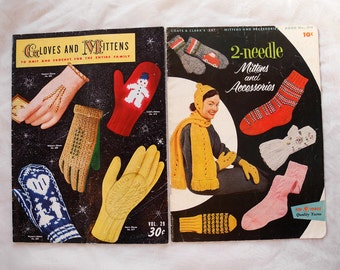 Vintage crochet and knitting pattern books, gloves, mittens, accessories, lot of 2, 1950s magazines