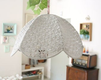Crochet Lamp Shade - Light gray