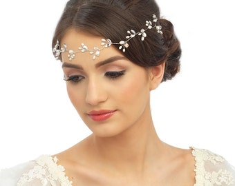 Pearl bridal vine forehead band crystal freshwater pearl leaf wedding band Art Deco Style Bridal 1920s Headpiece, wedding hair accessories