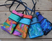 "Handmade Handcrafted Leather Pouch, embossed air brushed and hand painted. Zipper Tote, 9""x 5.5""  Adjustable Strap"