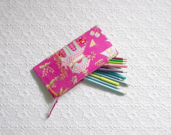 Pink Asian Chinoiserie Toile Pencil Makeup Case