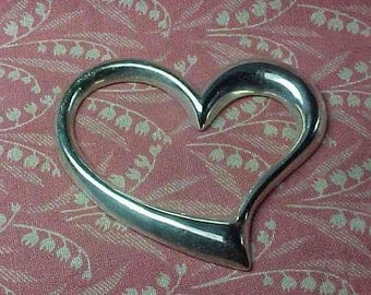 925 Sterling Silver Large 2 inch Open Puff Heart Thailand Pendant