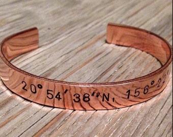 Hand stamped cuff bracelet  copper custom coordinates bracelet longitude latitude hand stamped unisex jewelry 7th anniversary gift jewelry