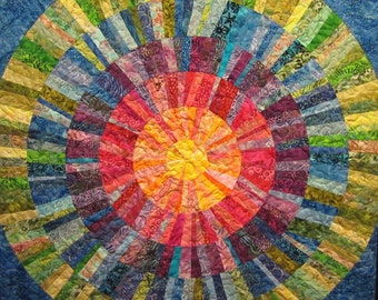 Colorful Sun Wall Hanging Art Quilt