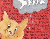 Small Matted Print, Meowcat  SALE!