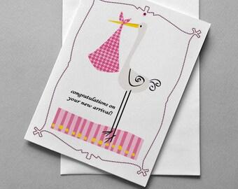 Baby Girl Stork, Stork, Pink, New baby card, Baby Girl, Girl