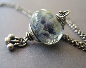 Blue Swirl Lampwork Necklace, Glass Bead Necklace, Silver Drop Necklace, Layering Necklace