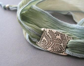 Silk Wrap Bracelet, Yoga Wrap Bracelet, Sage Green Silk, Paisley Leaf Design