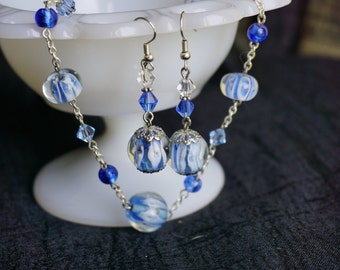 Blue glass bead necklace and earring set