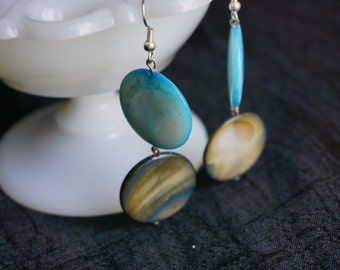 Teal and Gray Shell Earrings