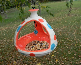 Hanging Bird Feeder 3  sided planter ..ash try .. Fruit  tangerine and turquoise     Ceramic Pottery planter ((( Ready to Ship )))