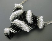 Twisted Peyote Triangle Pendant / Beaded Necklace in Black, Silver and White / Seed Bead Pendant / Peyote Triangle / Beadwork Pendant