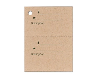 100  DOUBLE DESCRIPTION Hang Tags, Price Tags, Strings Included.  Perforated For Price.
