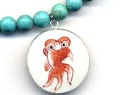 Porcelain Pendant Necklace, Magnesite Necklace, Koi Fish Necklace, big porcelain Pendant, Floral pendant, jewelry by AnnaArt72