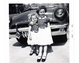 Sisters Matching Dresses vintage photo Little Girls Old Car 1955 snapshot