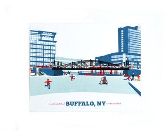 buffalo ny art print, buffalo, ny, canalside buffalo ny, ice skating buffalo usa, city of buffalo, buffalo pictures, buffalo images