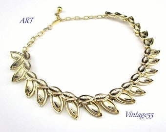 Necklace Leaf Collar signed ART