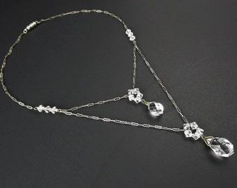 Necklace Crystal Drop Silver tone 1920