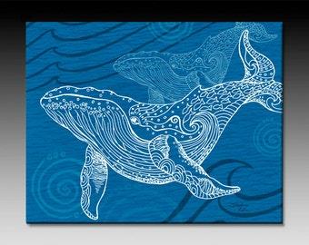 Whale One Color Ceramic Tile Wall Art, Ocean Art, Tile Art