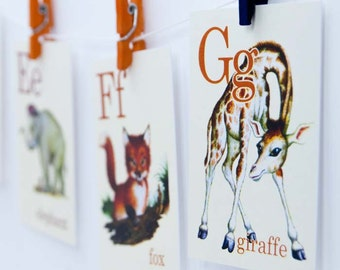 Wild Animal ABC Alphabet Vintage Style Flash Cards, Deer, Woodland, Elephant, Fox, Giraffe