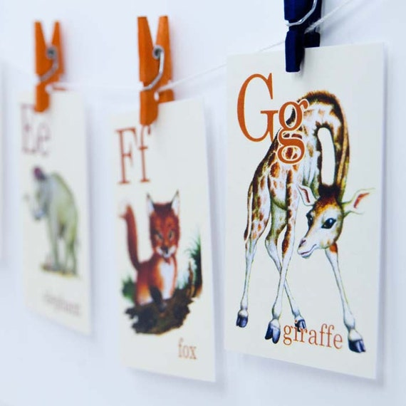 Wild Animal ABC Vintage Style Flash Cards | Set of 26 | Choose your Size