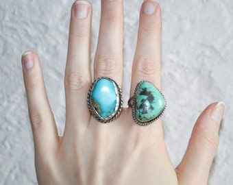 Two Silver Turquoise Stone Rings