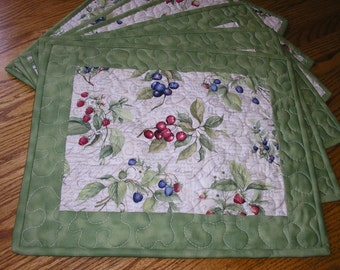 Quilted Reversible 6 Place Mats, Berries Print - Set of 6 - 13 1/2 x 16 1/2 inches