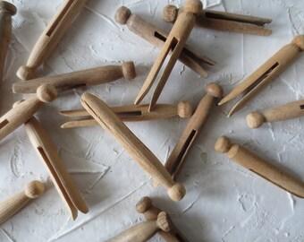Vintage Wood Clothespins + Basket