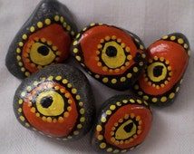 Funky Art, Decorated Stones, Hand Painted Stones, Painted Rock, Handpainted Rocks, Funky Painting,Eyeballs, Orange Painting,Stocking Stuffer