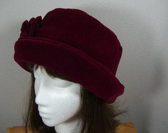 Burgundy Rose Velvet Hat, Women's Velvet Hat, Deep Rose Winter Hat