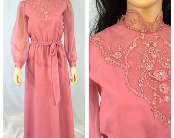 Vintage Pink High Collar Dress. Lace. Victorian Style. Long Sleeve. Long Dress. Medium. Lace Sequins Accent. Under 50. Rose Pink.