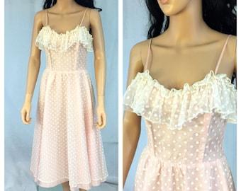 Vintage Light Pink Polka Dot Dress. X-Small. Ruffled. 1980s Dress. White Polka Dots. Pink Party Dress. Spring. Cute Dancing Dresses.