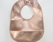 Solid Rose Gold Leather Bib with Food Catcher and Adjustable Magnetic Clasp in Metallic Rose Gold, Can be Personalized