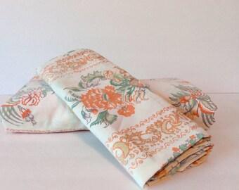 vintage full flat sheet // matching pillowcase // 1970's rust cream boho print