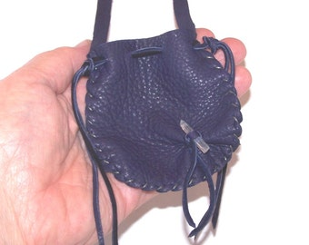 Leather Neck Pouch...PURPLE...Smooth